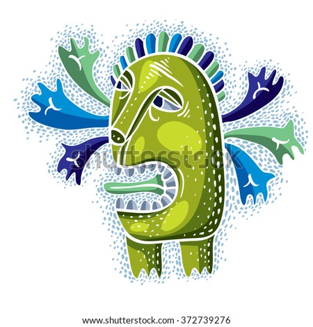 Vector cool cartoon crazy green monster, single weird creature. Clipart mythic character for use in graphic design and as mascot.  - stock vector