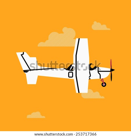Vector cool four colors flat design web icon on private transport passenger personal small single engine air plane with propeller, side view with wings - stock vector