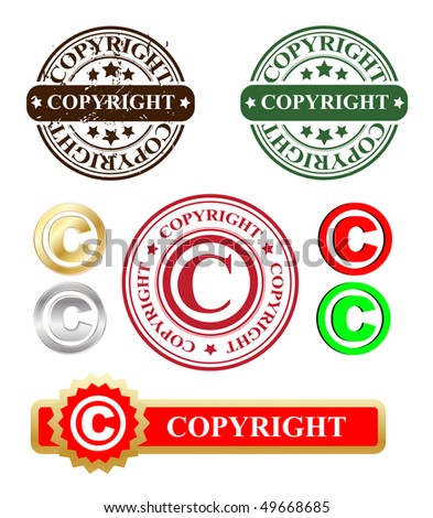 vector copyright stamp and labels - stock vector