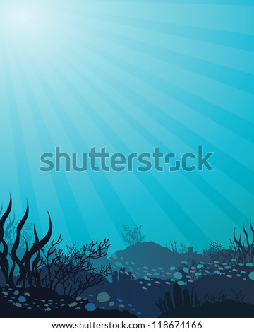 Vector corals and fish on a blue sea background - stock vector