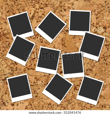 Vector cork board with ten scattered blank instant photo cards - stock vector