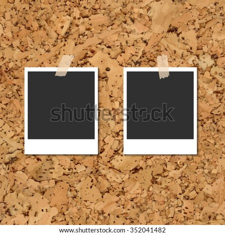 Vector cork board with two blank instant photo cards fixed by an adhesive tape - stock vector