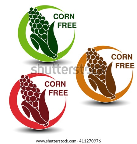 Vector corn free symbols isolated on white background. Silhouettes maize in a circle with shadow.  - stock vector