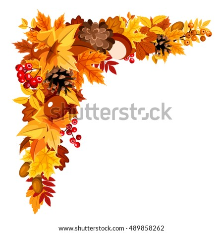 Vector corner background with orange, yellow and brown autumn leaves, cones, chestnuts, rowanberries and acorns.