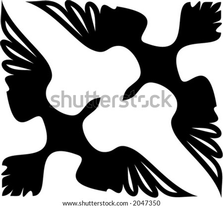 Vector corner ornament - Birds. This is a vector image - you can simply edit colors and shapes - stock vector