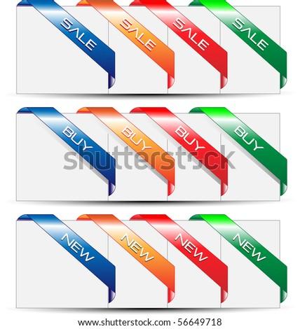 Vector corner ribbons. - stock vector