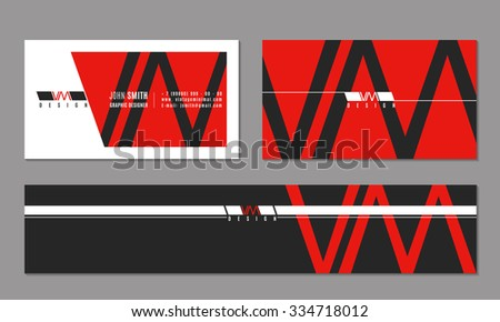 Vector corporate business card and banner with modern logo in minimalism style. Address phone number, visiting personal info, website and email illustration - stock vector