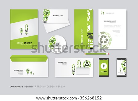 vector corporate identity for full company use / green recycle energy business set - stock vector