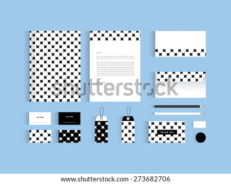 Vector corporate identity mock up. Black and white circle seamless pattern  - stock vector