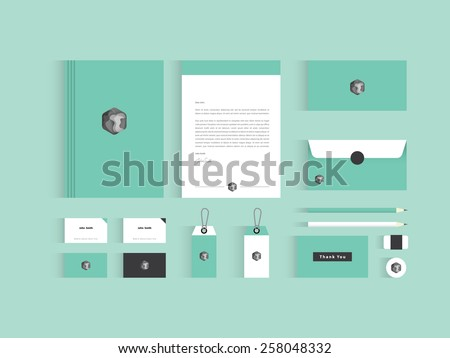 Vector corporate identity mock up. Green and grey color with abstract symbol. - stock vector