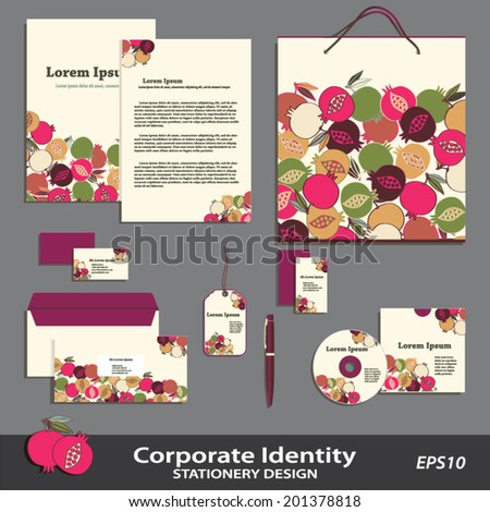 vector corporate identity pomegranate pattern stationery design template brand business set multicolor against