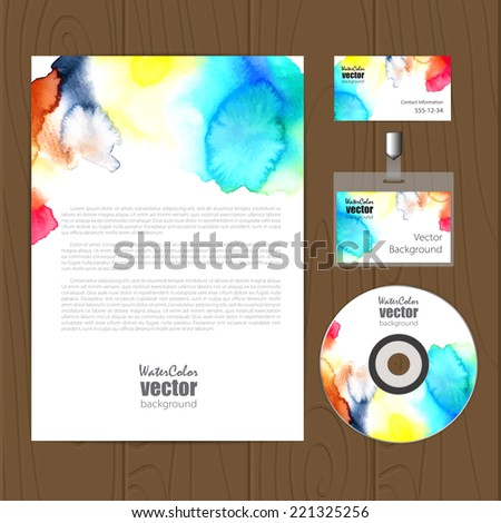 Vector corporate identity template with watercolor rainbow elements. Eps10 - stock vector