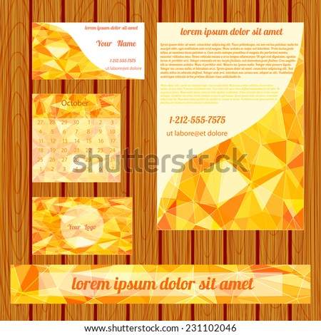 Vector Corporate identity templates with gold poligons.Design templates collection with  geometric triangular backdrop.