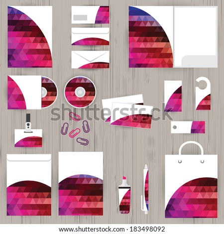 Vector corporate identity, triangle pattern design, geometric background, wooden texture background, stationery - stock vector