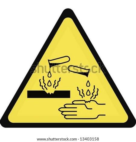 vector. corrosive sign - stock vector