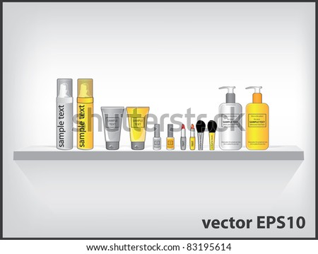 Vector cosmetic containers on the shelf - stock vector