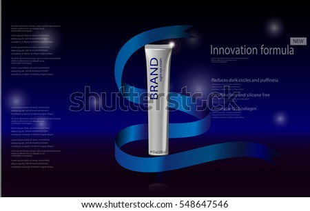 vector cosmetics advertising banner for web, print. Realistic brand cosmetic tube package with gift ribbon. Presentation poster of innovation formula night eye cream with stars bokeh effect backdrop