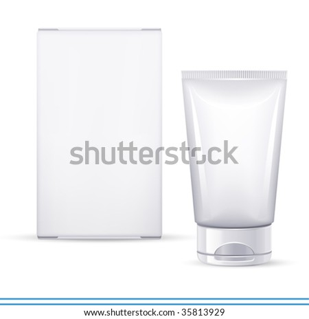 vector cosmetics container and box. There are VARIETY of white containers in my portfolio ;) - stock vector