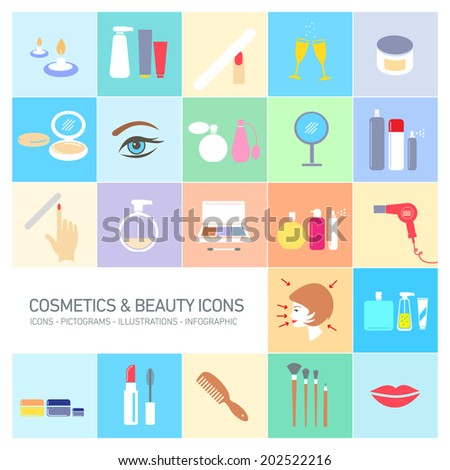vector cosmetics, make-up and beauty icons set | flat design colorful illustrations and pictograms - stock vector