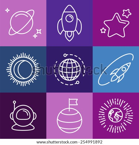 Vector cosmic signs and line icons - space logos and design elements - stock vector