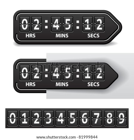 vector countdown black mechanical timer - stock vector