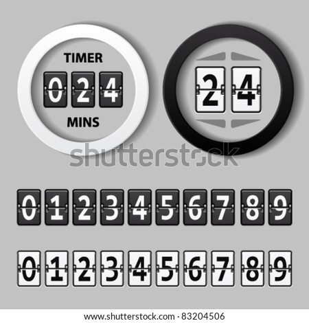 vector countdown round mechanical timer - stock vector