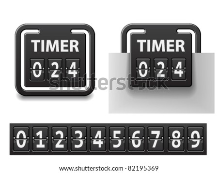vector countdown square mechanical timer - stock vector
