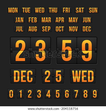 Vector countdown timer and date, calendar scoreboard numbers - stock vector