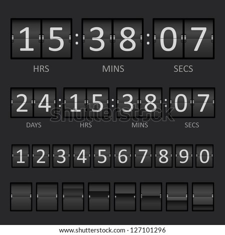 Vector Countdown Timer and Scoreboard Numbers - stock vector