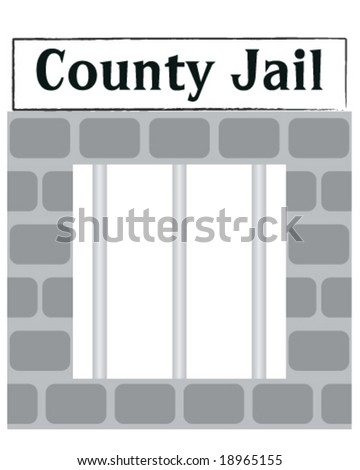 vector county jail cell window with bars - stock vector