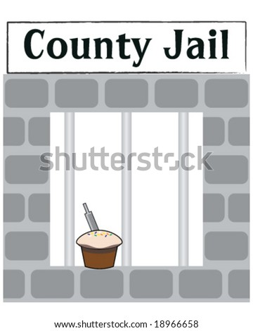 vector county jail cell window with cake with file in it for escaping - stock vector