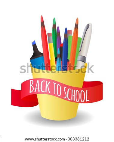 Vector Cover with a cup  with colorful pencils, pens, markers on the topic back to school - stock vector