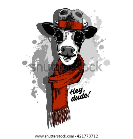 Vector cow in a hat and red scarf. Cow-gentleman.   - stock vector