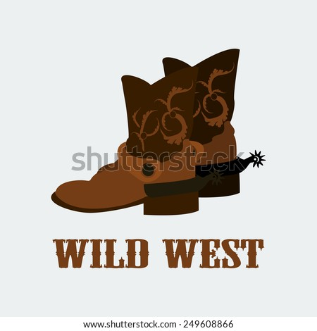 vector cowboy boots wild west. Vector format eps 10. Flat colors - stock vector