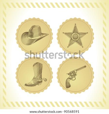 vector cowboy icon set - in engraving style - stock vector