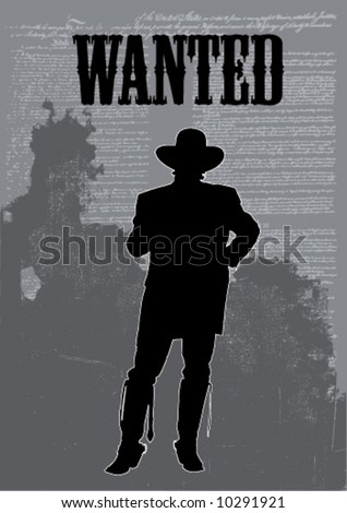 vector cowboy on a typographic background - stock vector