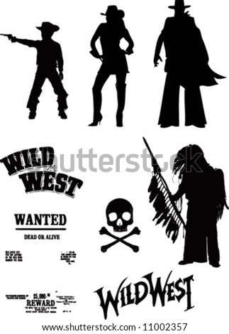 vector cowboy set - stock vector