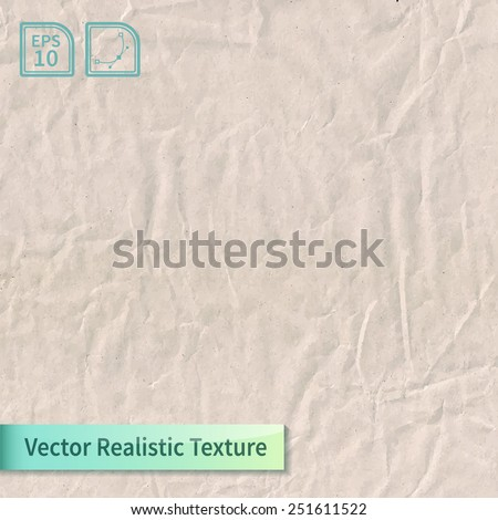 Vector craft crumpled recycled paper sheet photo texture. Wrapping paper with wrinkles for your design. - stock vector