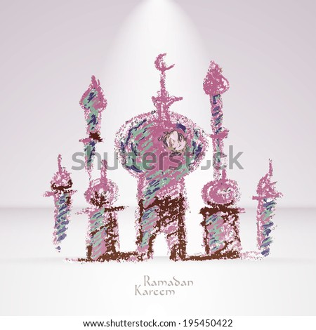 Vector Crayon Muslim Mosque. Translation: Ramadan Kareem - May Generosity Bless You During The Holy Month. - stock vector