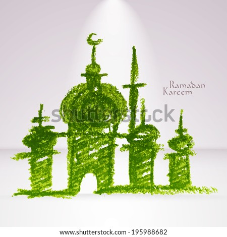 Vector Crayon Muslim Mosque. Translation: Ramadan Kareem - May Generosity Bless You During The Holy Month.