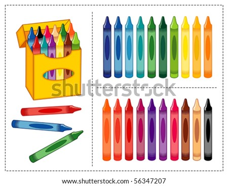 vector - Crayon Set. Big box of crayons in 20 vivid & pastel colors with pencil sharpener for scrapbooks, home, office & back to school projects. EPS8 organized in groups for easy editing. - stock vector