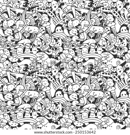 Vector. Crazy doodle characters. Seamless pattern. - stock vector