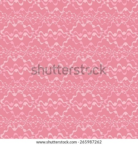 Vector creative abstract hand-drawn seamless pattern of smooth bands in gently pink and crimson tones - stock vector