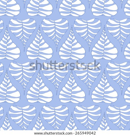 Vector creative abstract hand-drawn seamless pattern of stylized leaves in white and pale blue tones - stock vector