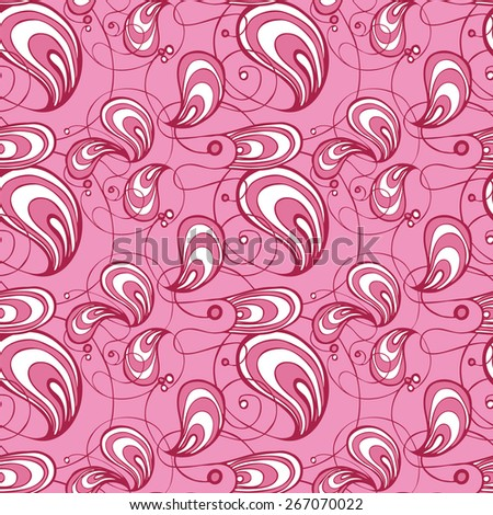 Vector creative abstract hand-drawn seamless pattern of swirling and flowing elements in white, pink and purple colors