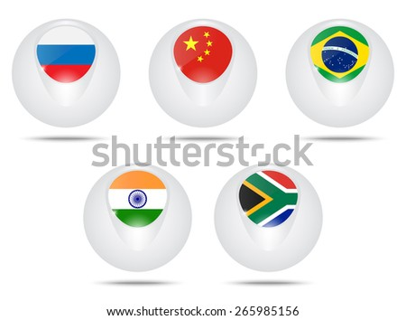 Vector creative ball with flags Brazil, Russia,, India, China and South Africa. BRICS.