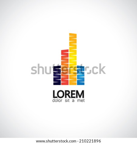 vector creative building construction, house & home icon - concept vector. This graphic also represents real estate city skycrapers or skyline commercial buildings of metropolitan downtown - stock vector