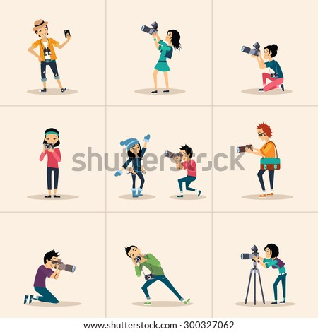 Vector creative character design people posing while photographer taking photos - stock vector