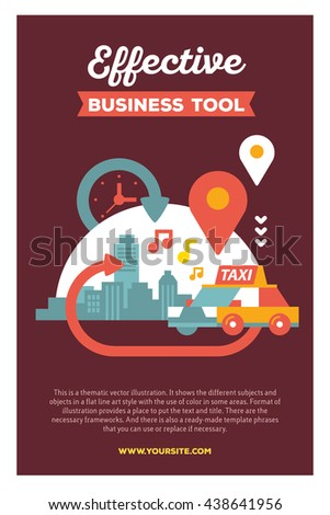 Vector creative colorful illustration of modern city taxi service with header and text on brown background. Taxi service poster template. Flat style design for busy urban daily life theme - stock vector