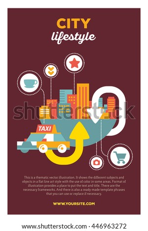 Vector creative colorful illustration of modern city taxi service with header city lifestyle and text on brown background. Mobile taxi service poster template. Flat style design of city taxi service - stock vector